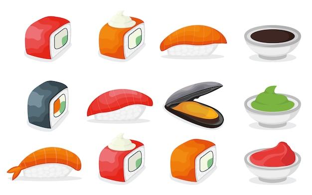 ピース魚サーモン寿司アイコン、新鮮な海のムール貝とエビ、醤油わさび、生姜の漫画イラストのセットです。