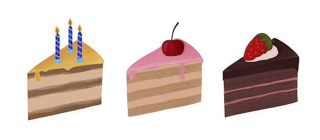 Набор кусочков торта со сливками свечи вишня клубника шоколад