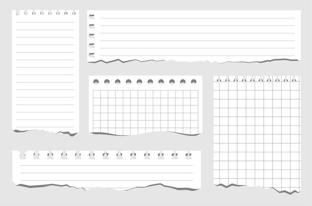 さまざまな種類の紙片のセット引き裂かれたノートブック紙空白のグリッドノートブックは、セルの水平線とミシン目が付いた正方形のイラストの白い紙のシートを引き裂いた