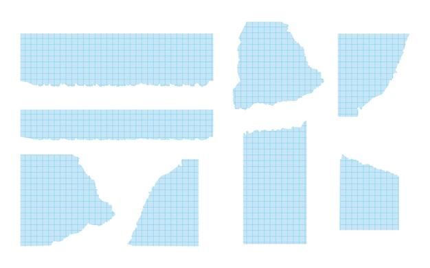 다양한 모양의 찢어진 파란색 그래프 용지 세트가 닳은 가장자리가 있는 찢어진 종이 템플릿...