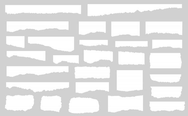 白い破れた紙、孤立した図の部分のセット