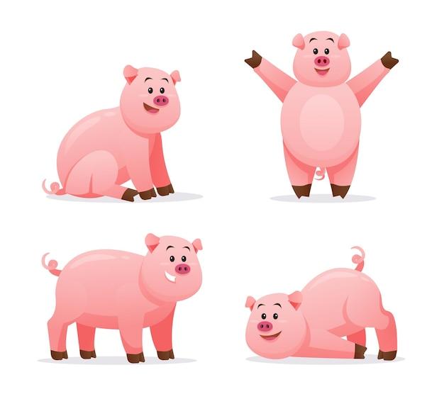 다양 한 포즈 만화 일러스트에서 돼지의 집합