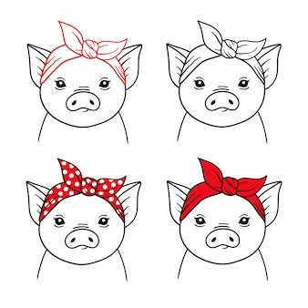 Набор свиней в банданах животное на ферме иллюстрация головы животного с красной банданой