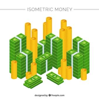 アイソメトリック紙幣、硬貨の山のセット