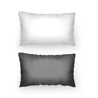 黒と白の色のテンプレートの枕のセット