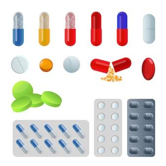 錠剤とカプセルのセット。水疱鎮痛剤と抗生物質、ビタミンとアスピリンの錠剤。医薬品のシンボルの薬局。白い背景の上の医療ベクトルイラスト。