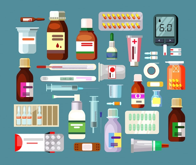 Набор таблеток и суспензий в бутылках