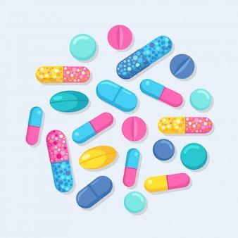 Набор таблеток, лекарств, лекарств. таблетки обезболивающие, витамин, фармацевтические антибиотики. концепция здравоохранения. мультфильм дизайн