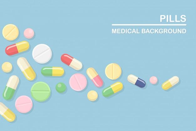 알약, 약, 약물의 집합입니다. 진통제, 비타민, 제약 항생제. 의료 배경. 만화