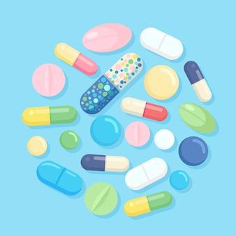 薬、薬、薬のセットです。鎮痛剤タブレット、ビタミン、製薬用抗生物質。医療の背景。