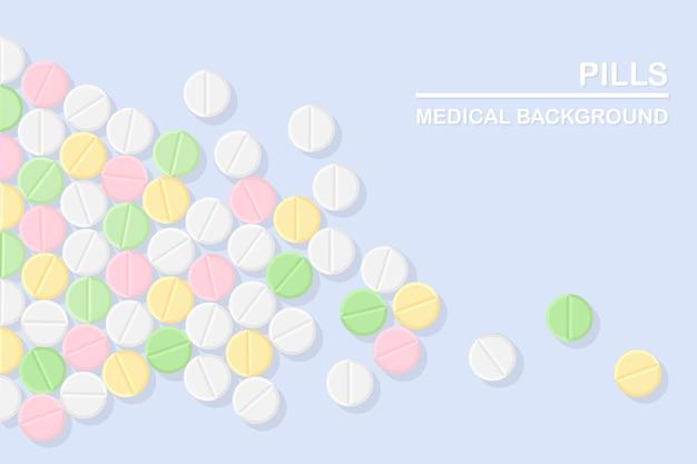 Набор таблеток, лекарств, лекарств. таблетка обезболивающая, витамин, фармацевтические антибиотики. медицинское образование.