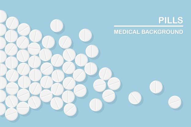 Набор таблеток, лекарств, лекарств. таблетка обезболивающая, витамин, фармацевтические антибиотики.