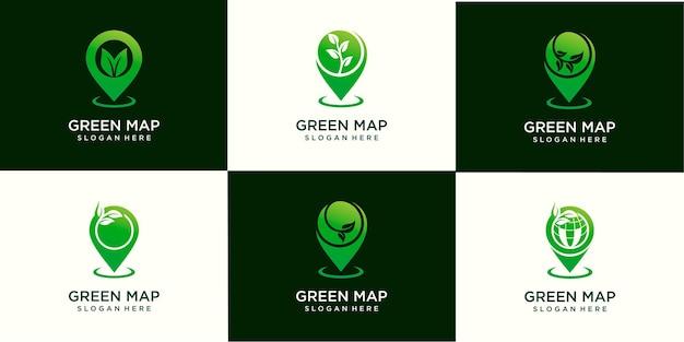 ピンマップ葉芽農業ロゴデザインテンプレートベクトルのセット