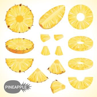 様々なスタイルのベクトル形式のパイナップルのセット