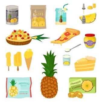 Набор ломтиков ананаса и продуктов