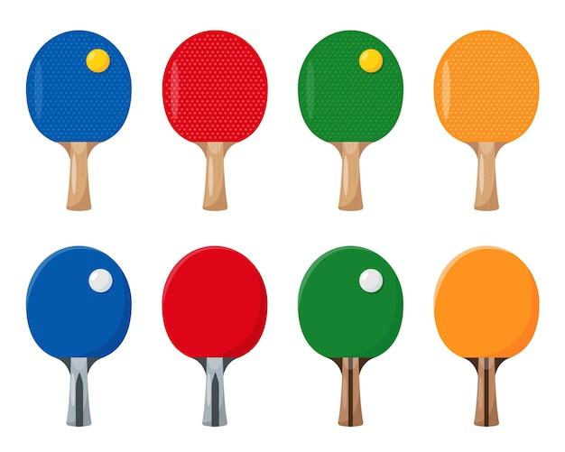 ピンポンラケットまたはコウモリとボール卓球コレクションスポーツゲーム要素のセット