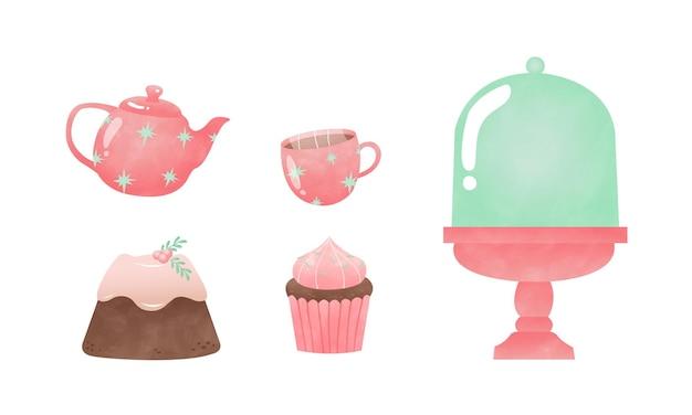 Набор розовых и мятных рождественских тортов и чаепития акварельный стиль векторные картинки, изолированные на белом