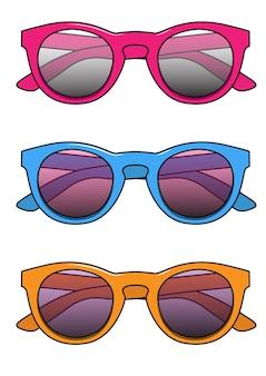 핑크, 블루, 오렌지 선글라스 벡터 일러스트 레이 션의 집합
