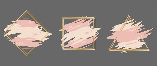 Набор розовых мазков в золотой оправе в виде треугольника, квадрата и ромба