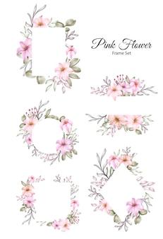 핑크 꽃 수채화 프레임 컬렉션 세트
