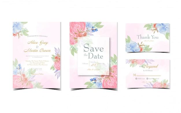 Набор розового цветочного свадебного приглашения с красивыми красными и синими акварельными цветами