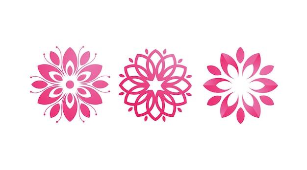 ピンクの花の美しさのロゴデザインテンプレートのセット