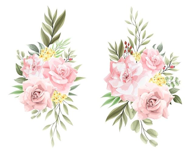 핑크 꽃 꽃다발 장식 세트