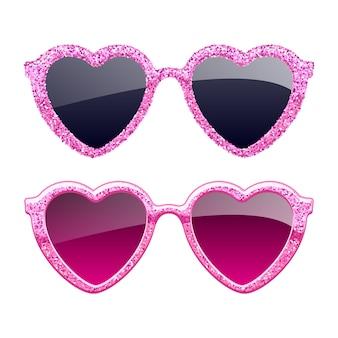 Набор иконок солнцезащитные очки розовый блеск сердца. модные аксессуары для очков.