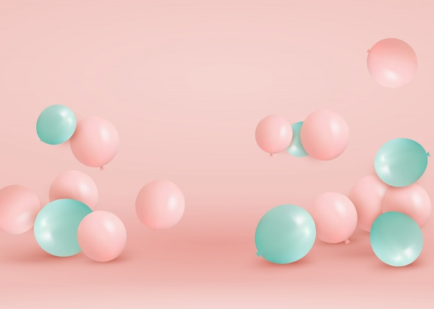 Набор розовые, зеленые шары летать на полу. отпразднуйте день рождения, плакат, баннер с юбилеем. реалистичные декоративные элементы дизайна. праздничная пастель розовый фон с гелиевых шаров.