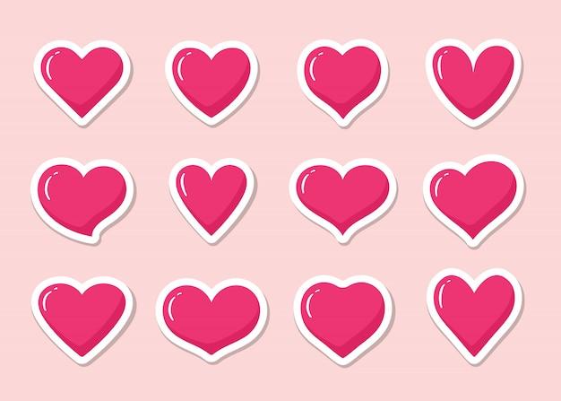 Набор розовых в форме сердца наклейки. собрание различных романтичных значков сердца для вебсайта, стикера, ярлыка, искусства татуировки, логотипа влюбленности и дня валентинок.