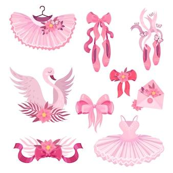 バレエをテーマにしたピンクのイラストのセット