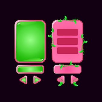 Набор всплывающих окон пользовательского интерфейса игры с розовым желе в джунглях для элементов графического интерфейса