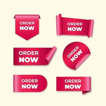 Набор розовых этикеток для заказа сейчас Premium векторы