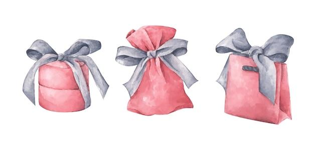 흰색 바탕에 분홍색 선물 세트. 손으로 그린 수채화 그림. 디자인, 인쇄, 직물, 배경에 대 한 휴일 그림.