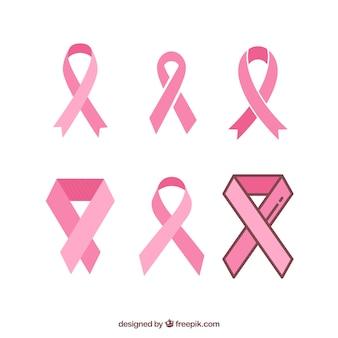 Set of pink ribbons symbols for breast cancer