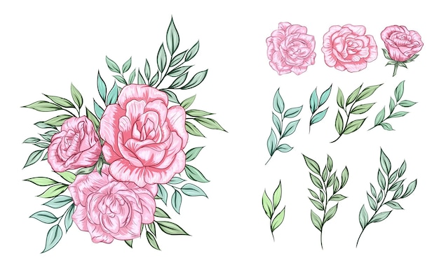 핑크 장미 꽃꽂이 세트