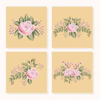 Набор розовых розовых цветов с листьями, картина в рамках