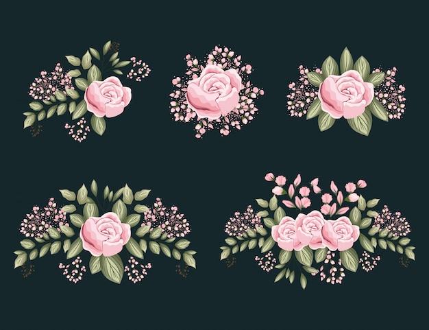 잎 그림 핑크 장미 꽃 세트