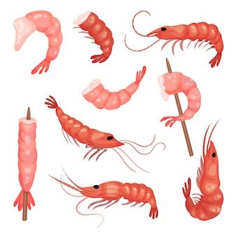 ピンクのエビのセット。頭のない皮をむいたエビ。水産物。おいしいおやつ。シーフードのテーマ