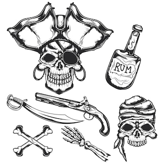 Набор пиратских элементов (бутылка, кости, меч, пистолет)