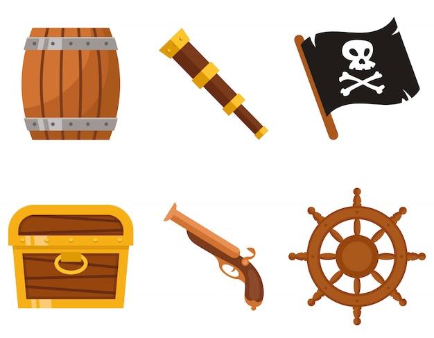 Набор пиратских атрибутов. морские объекты в мультяшном стиле.