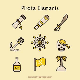 Набор элементов пирата в линейном стиле