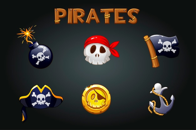 Набор пиратских иконок и символов. бомба, якорь, череп, знаки флага и деревянный логотип.