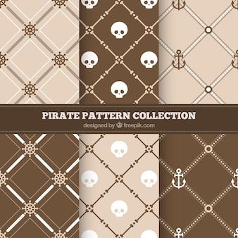 茶色の色調の海賊模様のセット