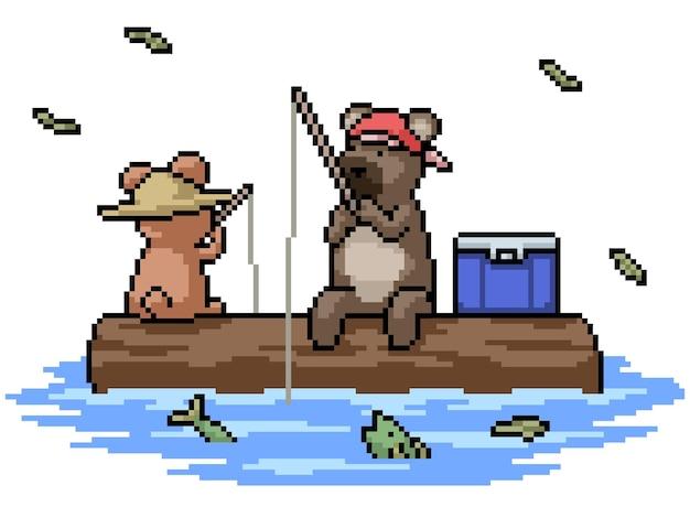 Набор пиксельной графики изолированного медведя на рыбалке с другом