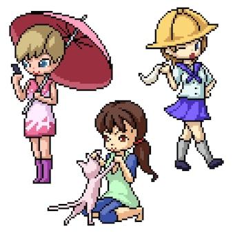 Набор пиксельного искусства изолированного персонажа чиби