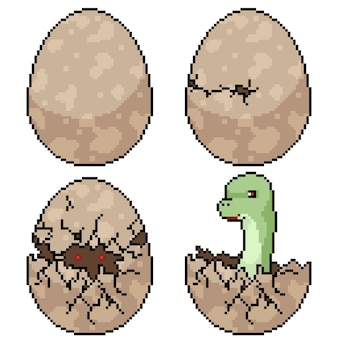 Набор пиксельного искусства изолированного люка яйца динозавра