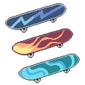 Набор пиксельного искусства изолированных дизайн скейтборда