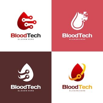 Pixel bloodロゴシンボル、blood healthcareロゴデザインテンプレート、bloodtechnologyロゴデザインコンセプトベクトルのセット