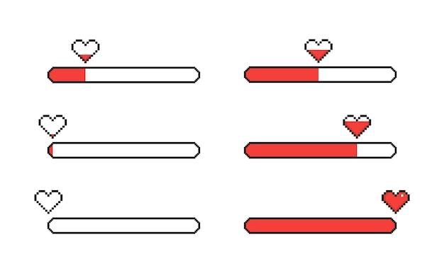 Набор пикселей сердца, изолированные на белом